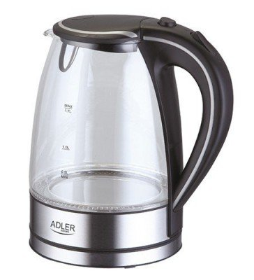 Kettle Adler AD 1225 Standard kettle, Glass, Stainless steel/Black, 2000 W, 360° rotational base, 1.7 L