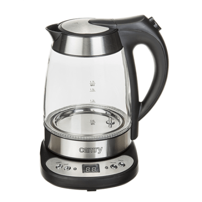 Kettle Camry CR 1242 With electronic control, Glass, Glass/Black, 2600 W, 1.7 L, 360° rotational base