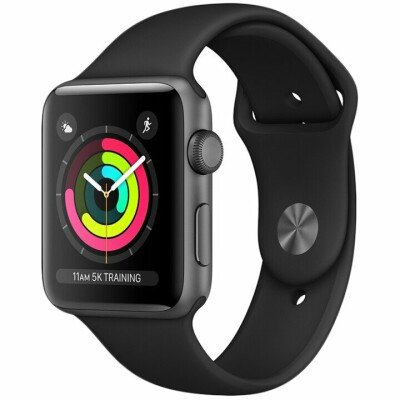 AppleWatch Series3 GPS, 42mm Space Grey Aluminium Case with Black Sport Band, Model A1859