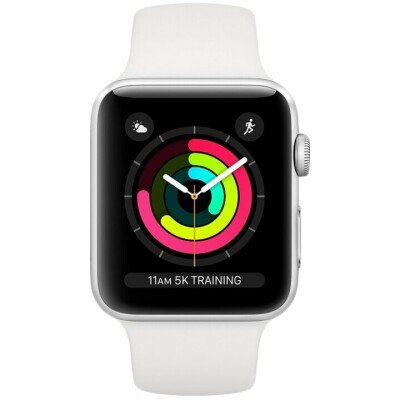 AppleWatch Series3 GPS, 38mm Silver Aluminium Case with White Sport Band, Model A1858