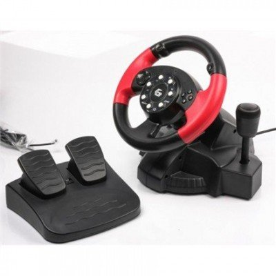 Gembird Multi-interface vibrating racing wheel with built-in vibration, foot pedals and gear stick (PC/PS2/PS3)