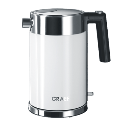 GRAEF. WK 61 Standard kettle, Stainless steel, White, 2000 W, 360° rotational base, 1.5 L
