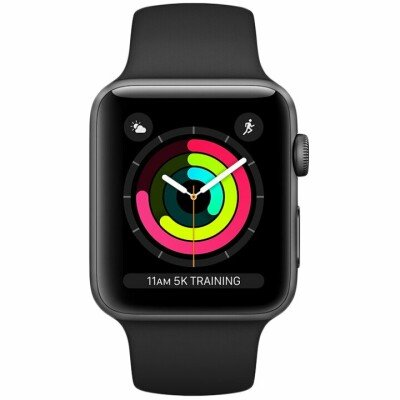AppleWatch Series3 GPS, 38mm Space Grey Aluminium Case with Black Sport Band, Model A1858