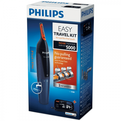 Philips Comfortable nose trimmer and manicure set Nose trimmer, Number of length steps 3, AA type, Black, Blue