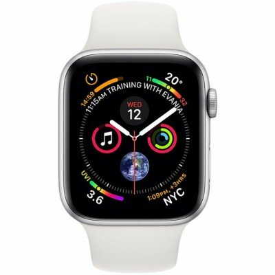 Apple Watch Series 4 GPS, 44mm Silver Aluminium Case with White Sport Band, Model A1978