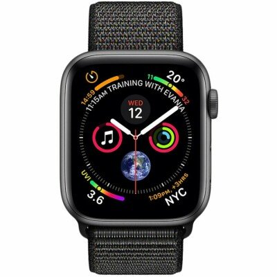 Apple Watch Series 4 GPS, 44mm Space Grey Aluminium Case with Black Sport Loop, Model A1978