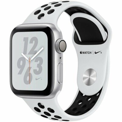 Apple Watch Nike+ Series 4 GPS, 40mm Silver Aluminium Case with Pure Platinum/Black Nike Sport Band, Model A1977
