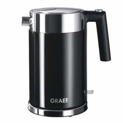 GRAEF. WK 62 Standard kettle, Stainless steel, Black, 2150 W, 1.5 L, 360° rotational base