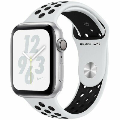 Apple Watch Nike+ Series 4 GPS, 44mm Silver Aluminium Case with Pure Platinum/Black Nike Sport Band, Model A1978
