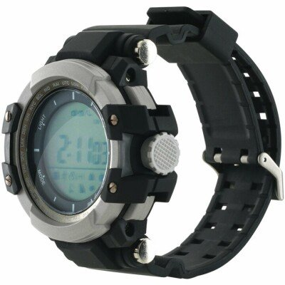 Smart watch, 1.2inch traditional LCD, Damage-resistant military style, TPU strap metal watch-case, IP68 waterproof, compatibility with iOS and android, Energy-efficient,550mAh, Blacklight, Black, host: 53*53*19.5mm, strap: 250*22mm, 73g