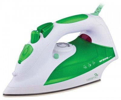ORAVA ZE-108 G White/green, 2000 W, Steam Iron, Anti-scale system, Vertical steam function, Water tank capacity 330 ml