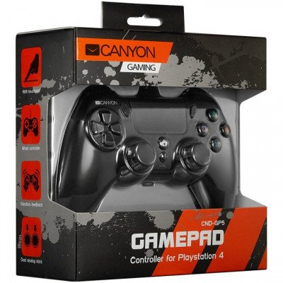 CANYON Wired controller gamepad with hand-cooling, vibration feedback, tigger and rubberized surface(Compatible with PC, PS4)