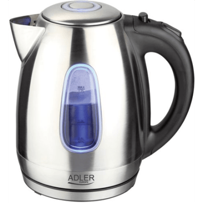 Adler AD 1223 Standard kettle, Stainless steel, Stainless steel, 2200 W, 1.7 L, 360° rotational base