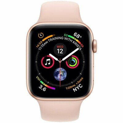 Apple Watch Series 4 GPS, 44mm Gold Aluminium Case with Pink Sand Sport Band, Model A1978
