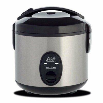 SOLIS Compact Rice Cooker Stainless steel / black, 350 W, Functions Cooking and keep-warm function,