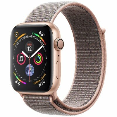 Apple Watch Series 4 GPS, 44mm Gold Aluminium Case with Pink Sand Sport Loop, Model A1978