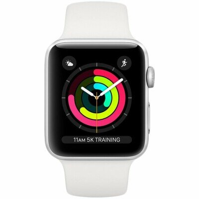 AppleWatch Series3 GPS, 42mm Silver Aluminium Case with White Sport Band, Model A1859