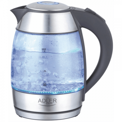 Adler AD 1246 Standard kettle, Glass, Glass/Black, 2000 W, 360° rotational base, 1.8 L