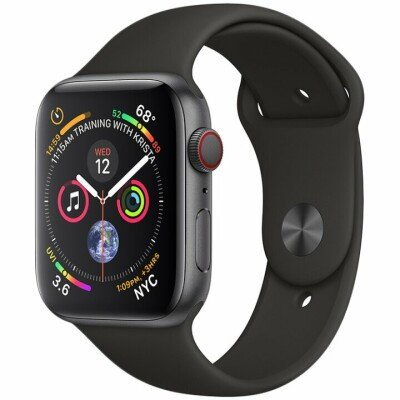 AppleWatch Series4 GPS, 40mm Space Grey Aluminium Case with Black Sport Band, Model A1977