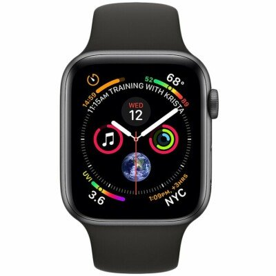 Apple Watch Series 4 GPS, 44mm Space Grey Aluminium Case with Black Sport Band, Model A1978