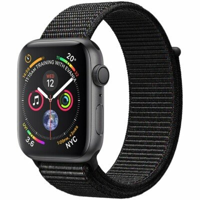 Apple Watch Series 4 GPS, 40mm Space Grey Aluminium Case with Black Sport Loop, Model A1977