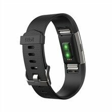 Fitbit Charge 2 Black-Silver Large FB407SBKL-EU OLED, Black, Heart rate + fitness wristband, Bluetooth, Yes, Heart rate monitor, GPS (satellite), Waterproof
